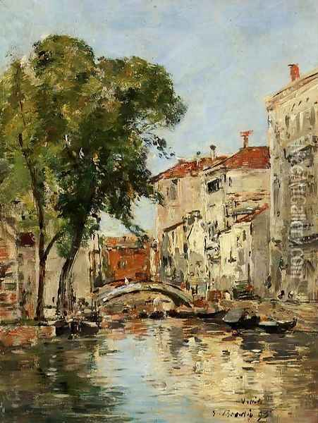 A Small Canal in Venice Oil Painting - Eugene Boudin