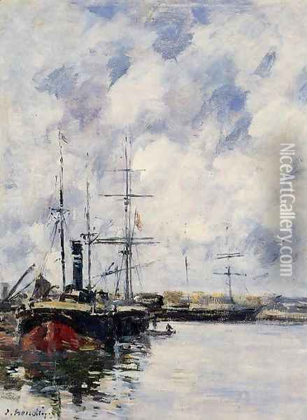 A Corner of the Deauville Basin Oil Painting - Eugene Boudin
