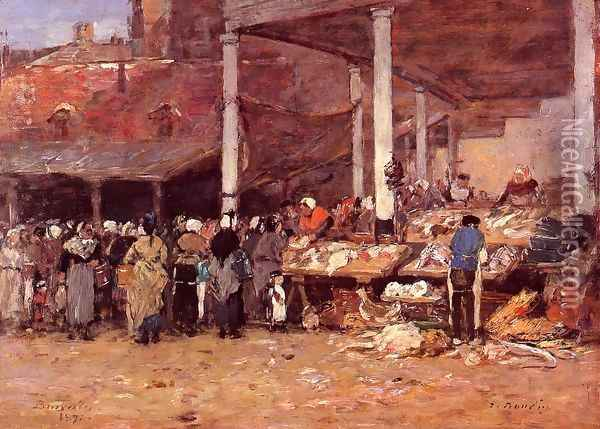 Brussels - the Old Fish Market Oil Painting - Eugene Boudin