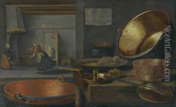 A Kitchen Still Life With Pots And Pans On A Stone Ledge And Animated Figures In The Background Oil Painting - Floris Gerritsz. van Schooten