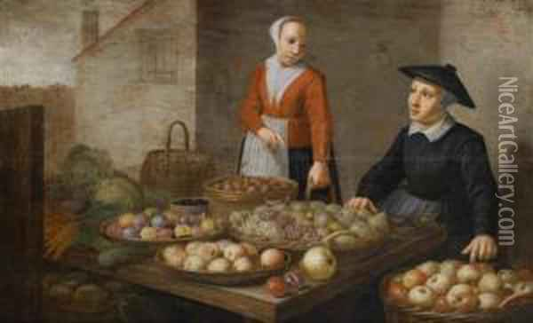 A Market Scene With Two Fruit And Vegetablevendors Oil Painting - Floris Gerritsz. van Schooten