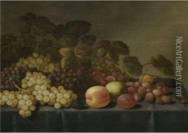 Still Life With Grapes, Loganberries, Plums, An Apple And A Glasstogether On A Table Oil Painting - Floris Gerritsz. van Schooten