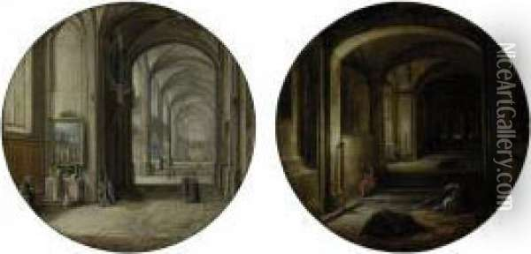 A Church Interior; And 'the Vaults' Oil Painting - Hendrick van, the Younger Steenwyck