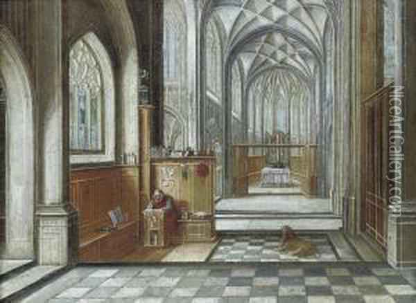 A Gothic Church Interior With Saint Jerome Oil Painting - Hendrick van, the Younger Steenwyck