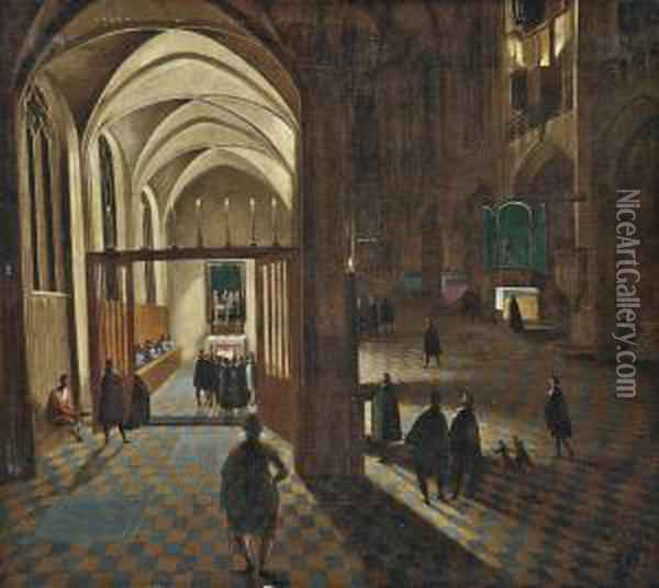 A Gothic Church Interior With Mass Being Held In A Side Chapel Oil Painting - Hendrick van, the Younger Steenwyck
