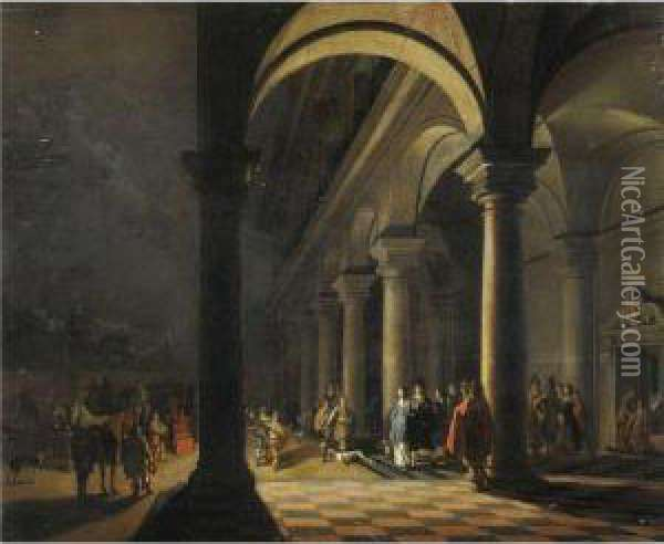 Notturno Con Partenza Da Palazzo Oil Painting - Hendrick van, the Younger Steenwyck