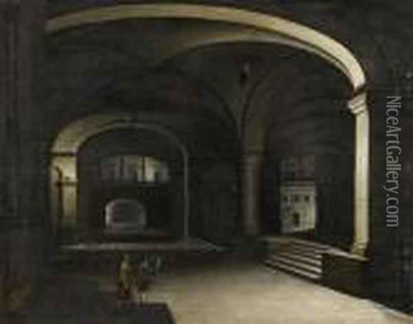Basement Vault With Two Figures. Oil Painting - Hendrick van, the Younger Steenwyck