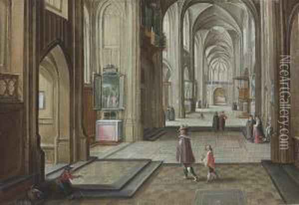 The Interior Of A Gothic Cathedral, With Elegant Figures Oil Painting - Hendrick van, the Younger Steenwyck