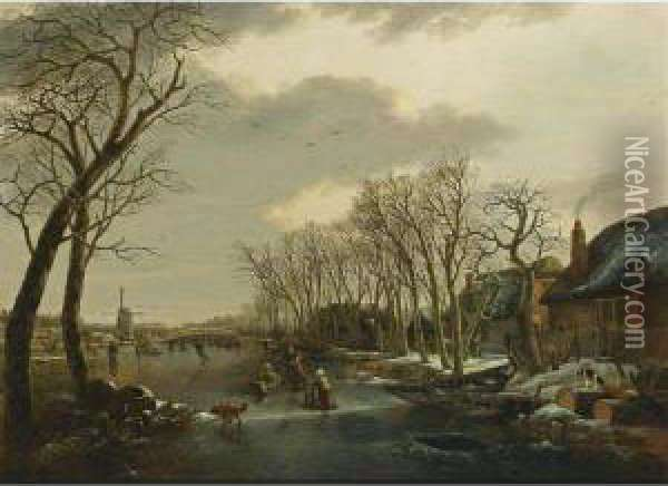 A Winter Landscape With A Woman Skating Behind A Sledge, A Girl Skating With A Chair, And Other Figures Skating And A Dog On A Frozen Canal Near A Village With A Mill Beyond Oil Painting - Arnoldus Van Well Dordrecht