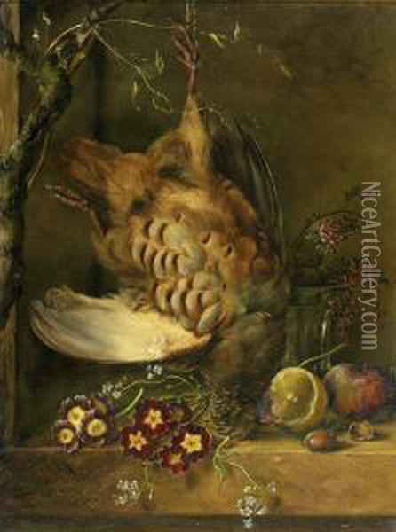 Still Life With Partridge Oil Painting - Petronella van Woensel