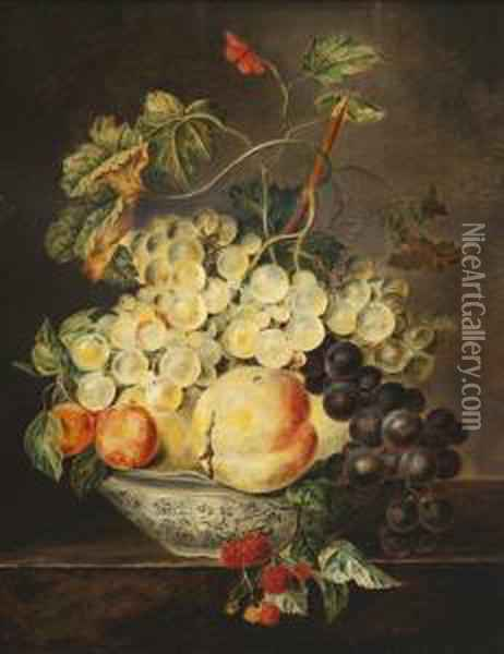Still Life With Fruit Oil Painting - Petronella van Woensel