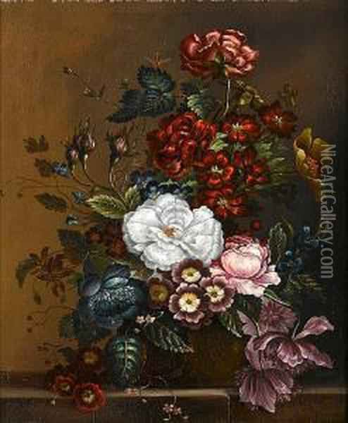 Roses, Primulae And Other Flowers On A Stoneledge Oil Painting - Petronella van Woensel