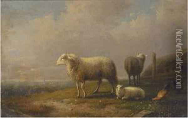 Sheep And Chickens In A Meadow, A Town Beyond Oil Painting - Francois Vandeverdonck