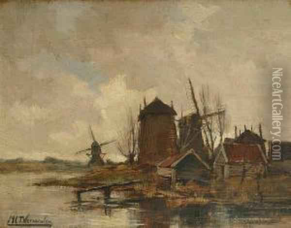 Dutch Windmills By A Lake Oil Painting - Marinus Cornelis Thomas Vermeulen
