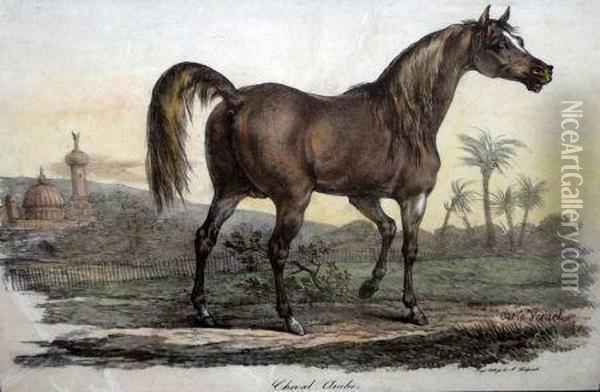 Cheval Arabe Oil Painting - Carle Vernet