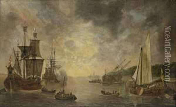 A Harbour With A Flute, A Frigate Firing A Salute, A Flute Beingcareened And A States Yacht, With Other Shipping At Sunset Oil Painting - Lieve Verschuier