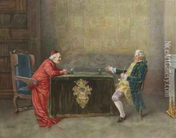 Cardinal And Companion Oil Painting - Jehan Georges Vibert