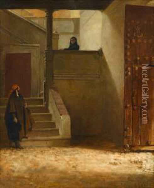 Figures On A Stairwell Oil Painting - Jehan Georges Vibert