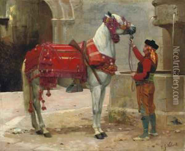 An Andalusian Horse And Rider Oil Painting - Jehan Georges Vibert