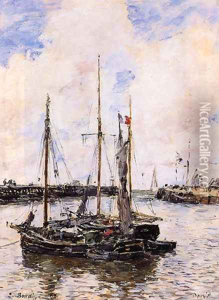 Entrance to the Port of Trouville Oil Painting - Eugene Boudin