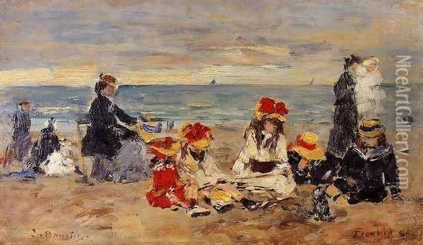 Woman and Children on the Beach at Trouville Oil Painting - Eugene Boudin