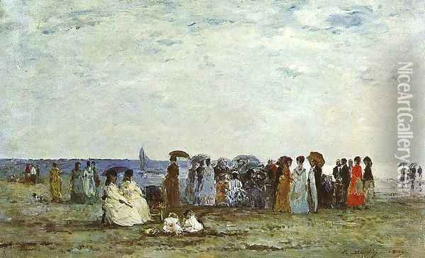 Bathers on the Beach at Trouville 1869 Oil Painting - Eugene Boudin