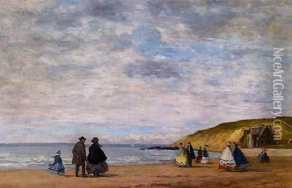 A Walk on the Beach Oil Painting - Eugene Boudin