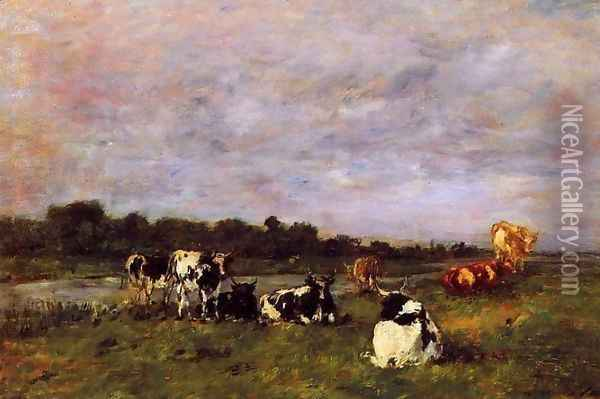 A Pasture on the Banks of the Touques Oil Painting - Eugene Boudin