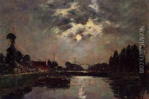 Saint-Valery-sur-Somme, Moonrise over the Canal Oil Painting - Eugene Boudin