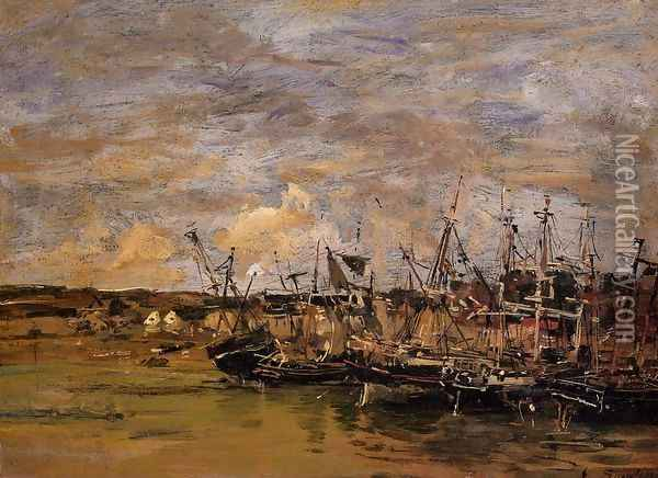 Portrieux, Fishing Boats at Low Tide Oil Painting - Eugene Boudin