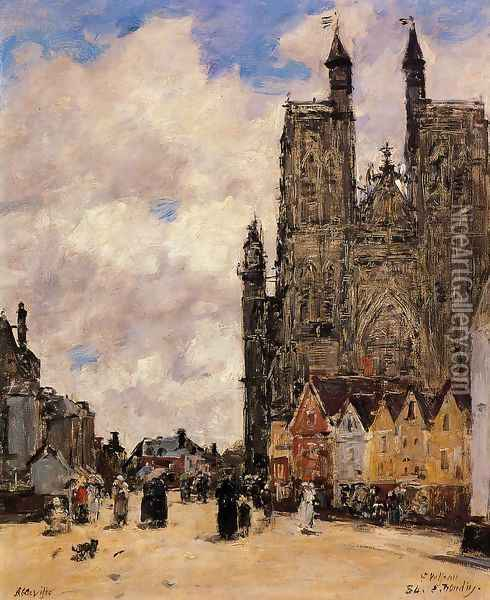 Abbeville, Street and the Church of Saint-Folfran Oil Painting - Eugene Boudin