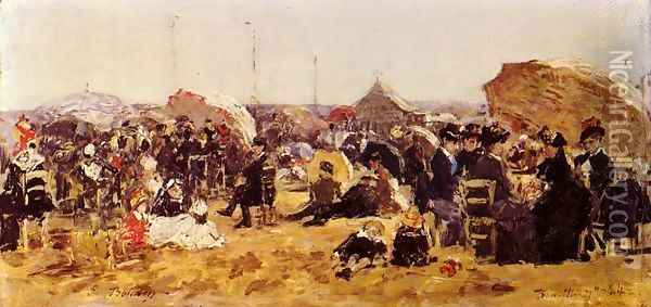 Beach at Trouville I Oil Painting - Eugene Boudin