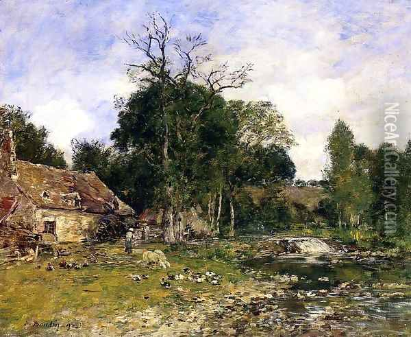 The Old Mill at Saint-Ceneri Oil Painting - Eugene Boudin