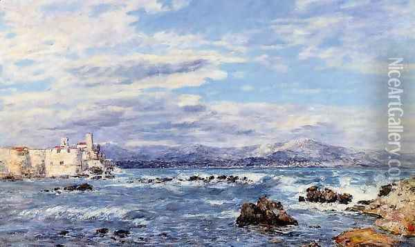 A Gusty Northwest Wind at Antibes Oil Painting - Eugene Boudin