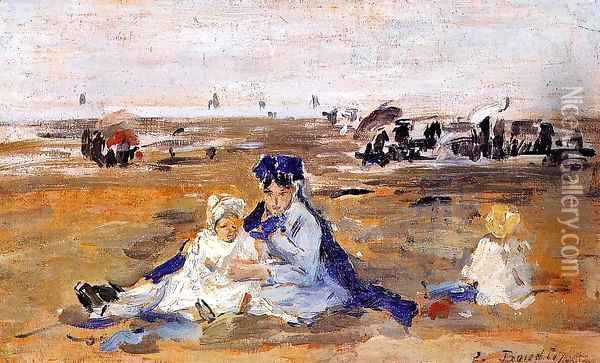 A Nanny on the Beach Oil Painting - Eugene Boudin