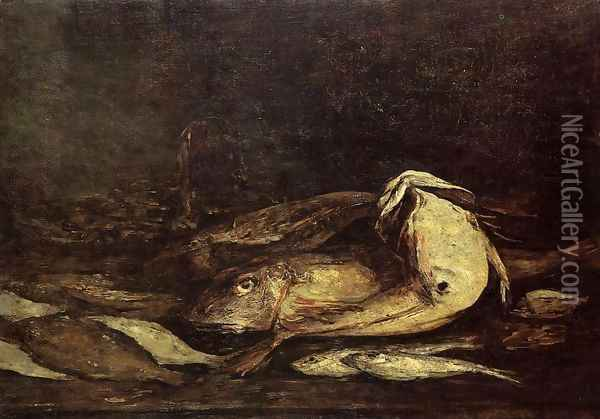 Mullet and Fish Oil Painting - Eugene Boudin