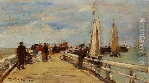 Deauville, the Jetty II Oil Painting - Eugene Boudin