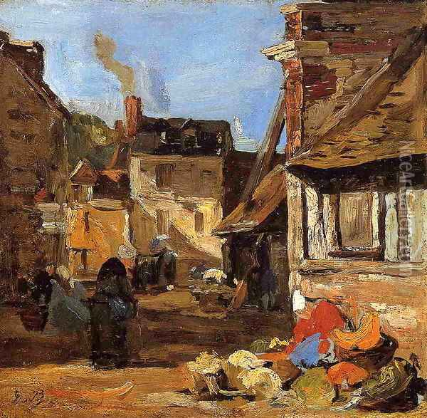Honfleur, the Saint Catherine Market Place Oil Painting - Eugene Boudin