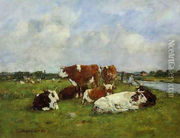 Pasturage on the Banks of the Touques Oil Painting - Eugene Boudin