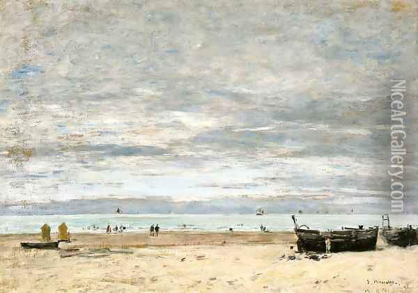 Berck, The Beach at Low Tide I Oil Painting - Eugene Boudin
