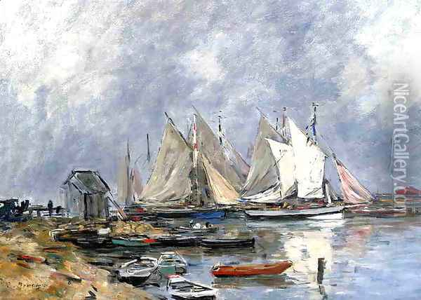 Trouville, the Port, Boats and Dinghys Oil Painting - Eugene Boudin