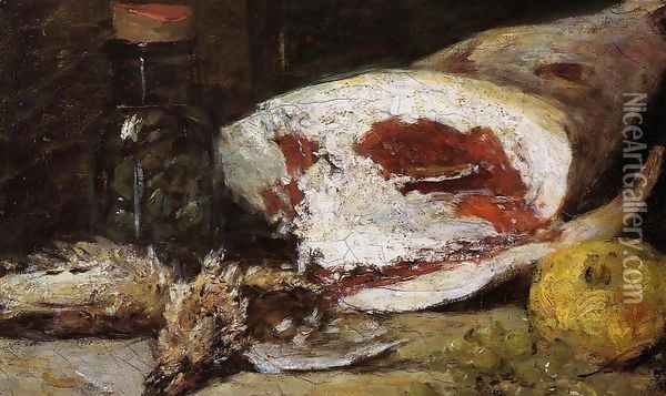 Still Life with a Leg of Lamb Oil Painting - Eugene Boudin