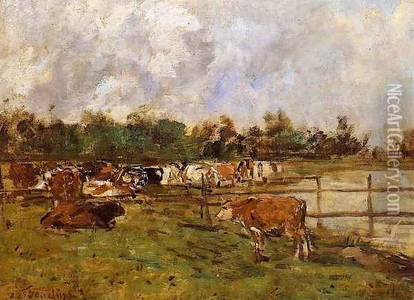 Cows in the Meadow Oil Painting - Eugene Boudin