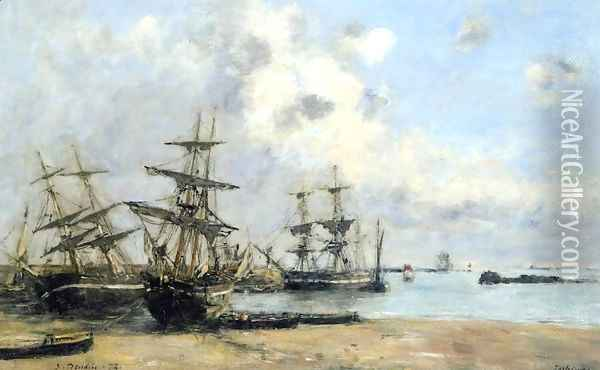 Portrieux, Boats in the Park Oil Painting - Eugene Boudin