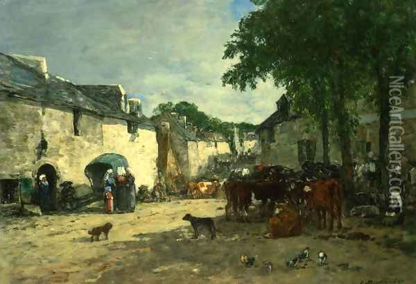 Cattle Market at Daoulas, Brittany Oil Painting - Eugene Boudin