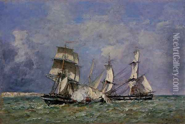 The Capture of the 'Petit Rodeur' 1878 Oil Painting - Eugene Boudin