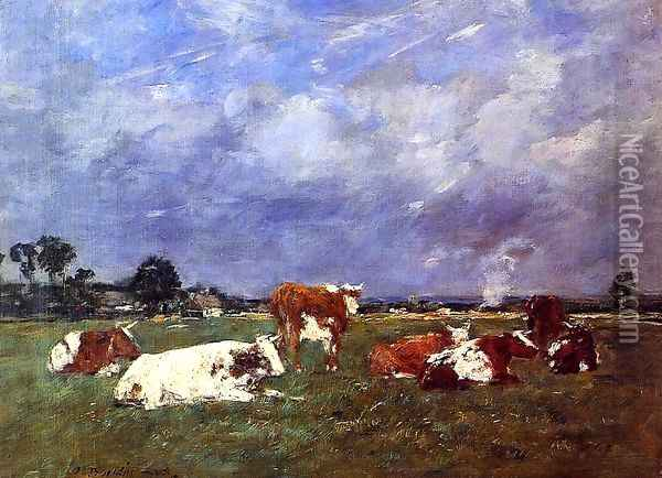 Cows in the Pasture Oil Painting - Eugene Boudin