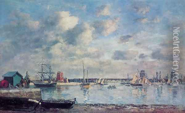 Camaret, Boats in the Harbor Oil Painting - Eugene Boudin