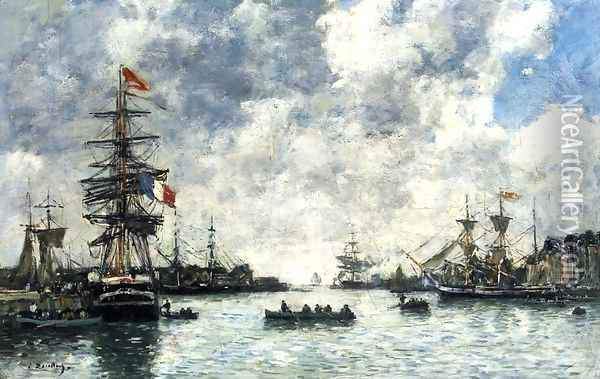 Le Havre, The Outer Harbor Oil Painting - Eugene Boudin