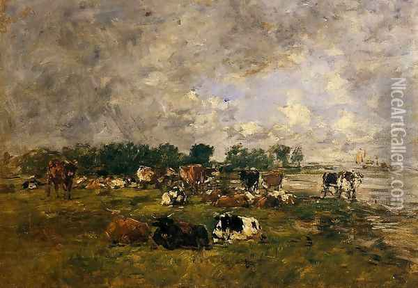Cows in the Fields Oil Painting - Eugene Boudin